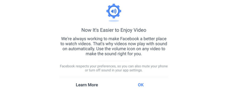 Autoplaying videos announcement from Facebook