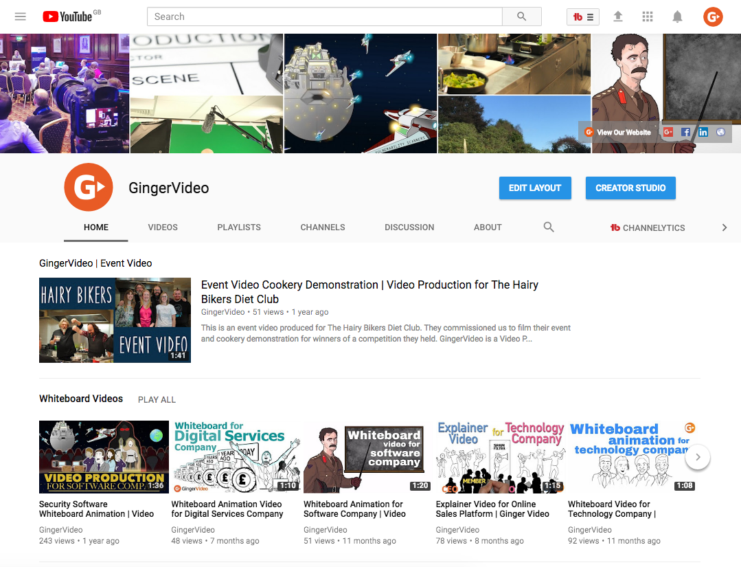 GingerVideo Branded YouTube Channel Example