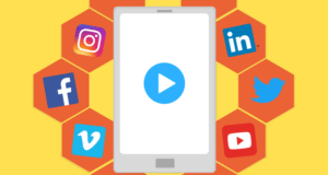 Video on phone surrounded by social media icons illustration