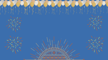 Balloons and fireworks on a blue background