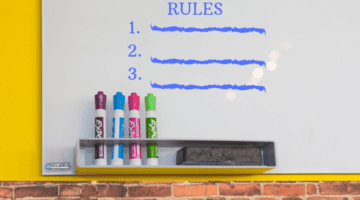Rules written on whiteboard