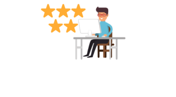 Man on computer with 5 stars icon