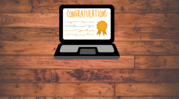 Congratulations on laptop screen icon