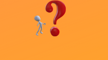 Figure looking at red question mark with orange background