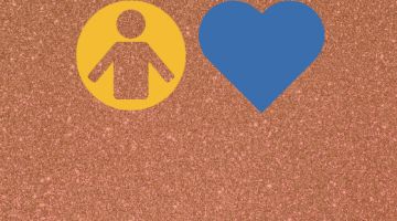 Yellow man icon and blue heart icon
