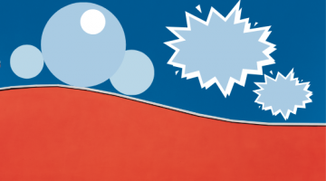 Circles and speech bubbles on blue and red background